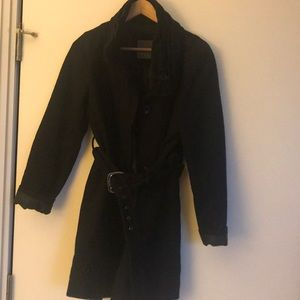 Zara extra large black wool coat with high collar